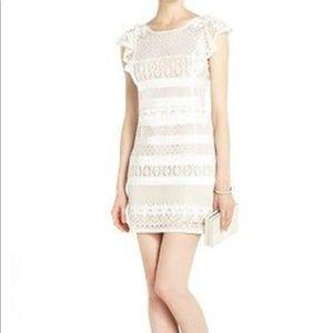 BCBG Renata lace shift dress cream